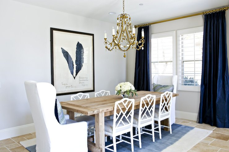 View Full Size White And Navy Dining Room