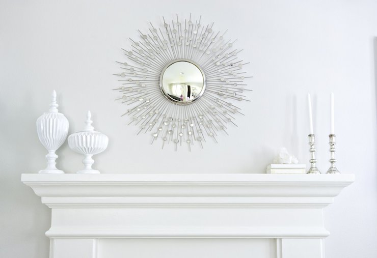 View Full Size Amazing Living Room Features Silver Sunburst Mirror Over White Fireplace Mantle