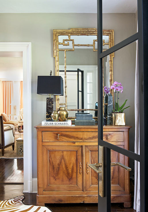 Gold Foyer Mirror : Gold bamboo mirror transitional entrance foyer laura