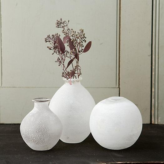 First Frost White Rounded Vase Collection