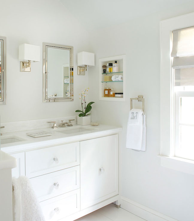 Open Medicine Cabinet Transitional Bathroom Laura Tutun Interiors - Bathroom vanity and medicine cabinet