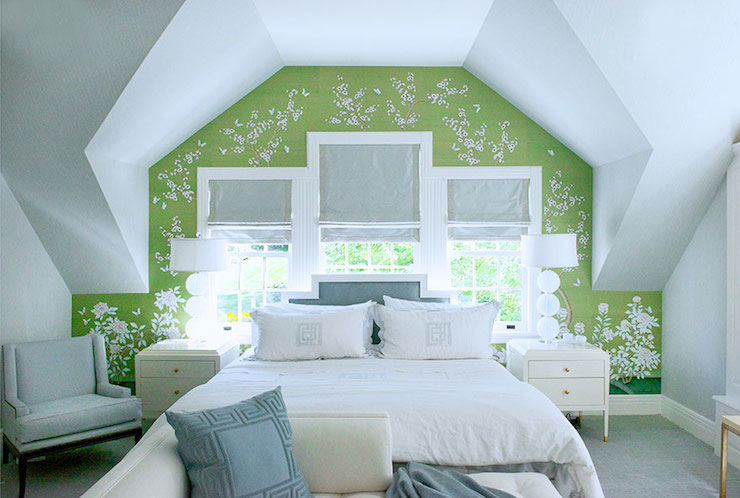 green and blue bedroom transitional bedroom
