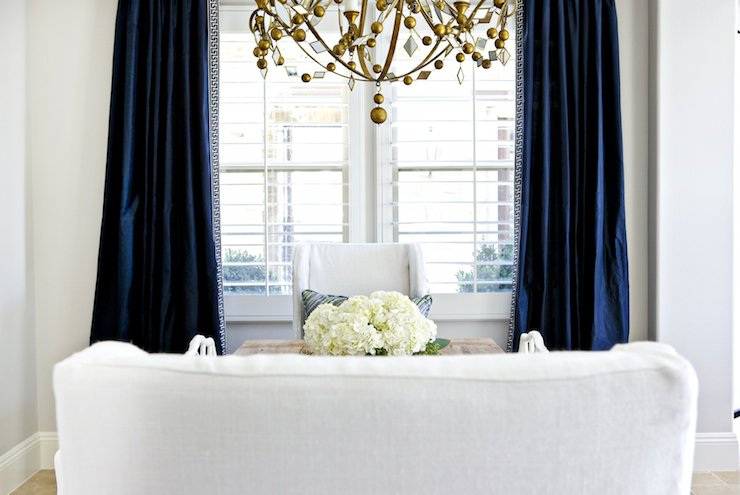 navy blue velvet curtains indigo blue navy drapes transitional dining room benjamin moore balboa