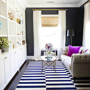 White and Navy Rug, Contemporary, living room, Studio McGee