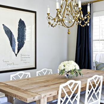 White And Navy Dining Room