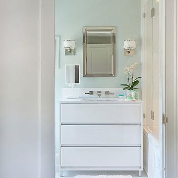 White Lacquer Vanity, Contemporary, bathroom, Laura Tutun Interiors