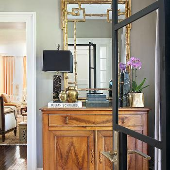 Gold Bamboo Mirror, Transitional, entrance/foyer, Laura Tutun Interiors