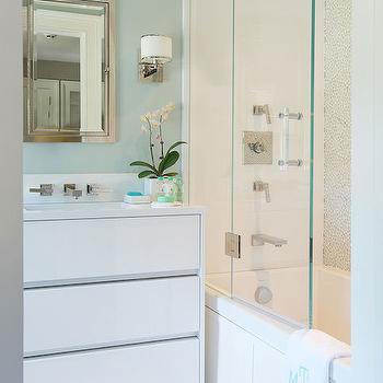 White and Green Bathroom, Contemporary, bathroom, Laura Tutun Interiors