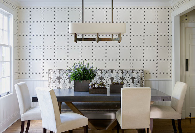 Studded wallpaper contemporary dining room laura for Dining room wallpaper