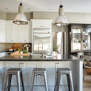 L Shaped Kitchen & Industrial Light Pendants Design Ideas azcodes.com