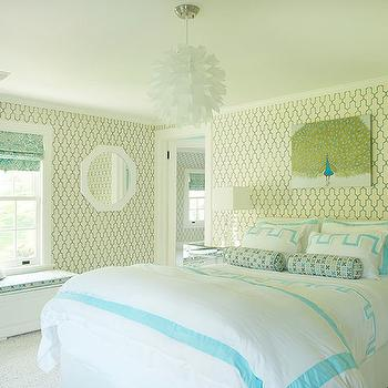Turquoise Moorish Tile Wallpaper, Contemporary, girl's room, Laura Tutun Interiors