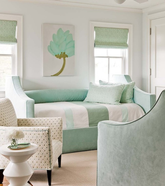 Mint Green Rooms gray and green bedroom with white and gold campaign nightstand