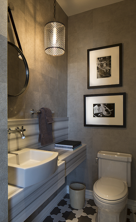 White and gray powder room contemporary bathroom for Gray bathroom wallpaper