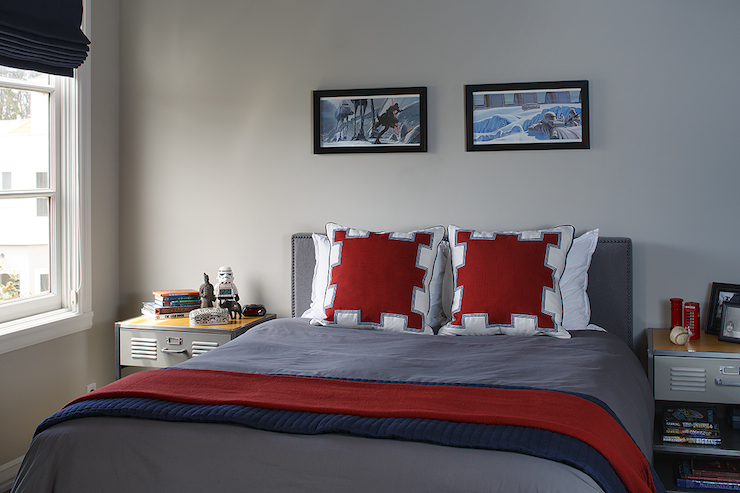 Fun boys room with framed Star War s art on gray walls over locker style  nightstands flanking gray headboard with bed dressed in red and white  geometric. Red And Gray Bedroom Design Ideas