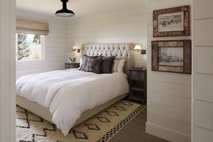 Beige Linen Tufted Headboard Cottage bedroom