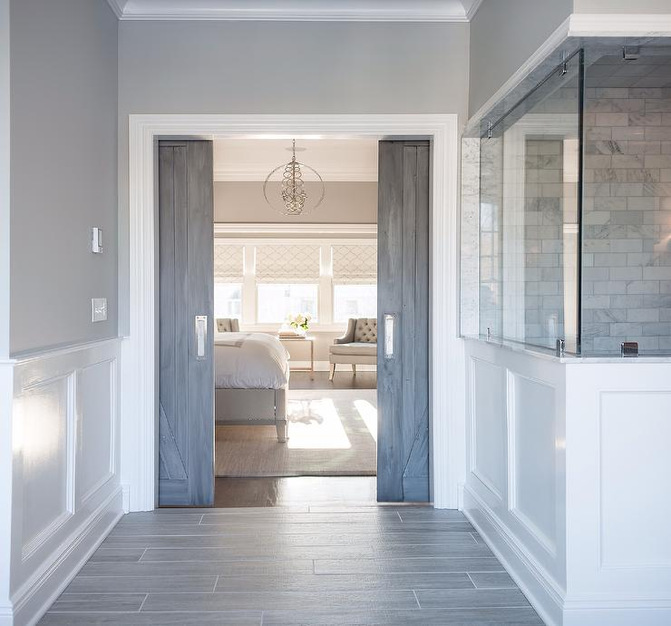 Wood Like Tile Transitional Bathroom Benjamin Moore San Antonio Gray Cory Connor Design