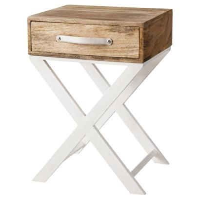 Threshold White and Natural Finish X-Base Accent Table. target.com - Threshold White Mirrored Drawer Accent Table I Target