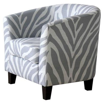 Portland Upholstered Gray Zebra Tub Chair