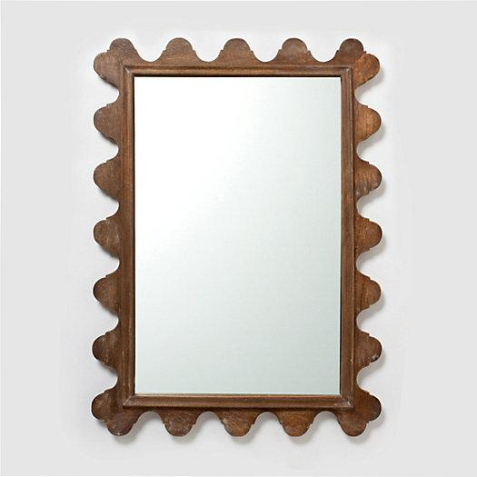 Scalloped Wood Frame Mirror