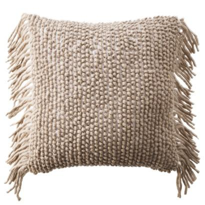 Decorative Throw Pillows With Fringe : Nate Berkus Decorative Woven Beige Side Fringe Pillow