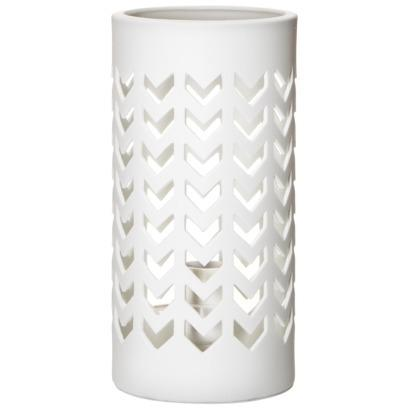 Threshold Perforated Chevron White Ceramic Table Lamp
