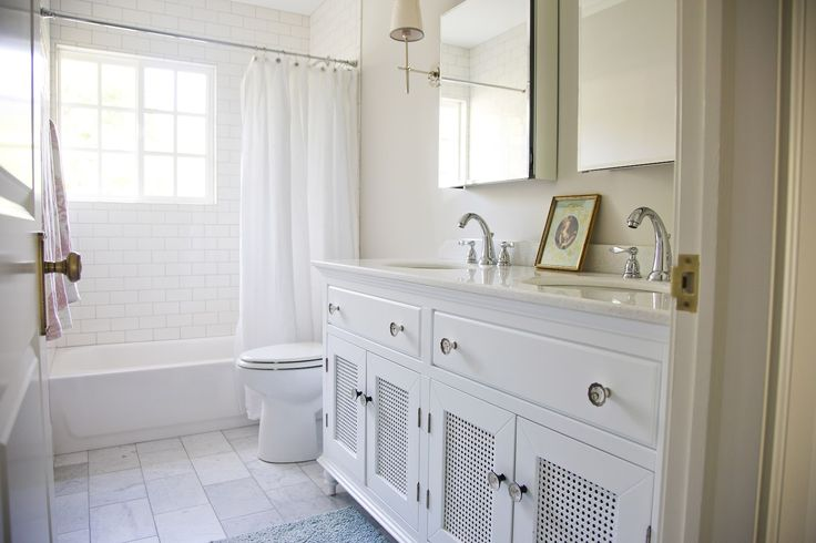 Cane Doors Transitional Bathroom White Gold Design