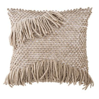 Nate Berkus Decorative Woven Beige Side Fringe Pillow