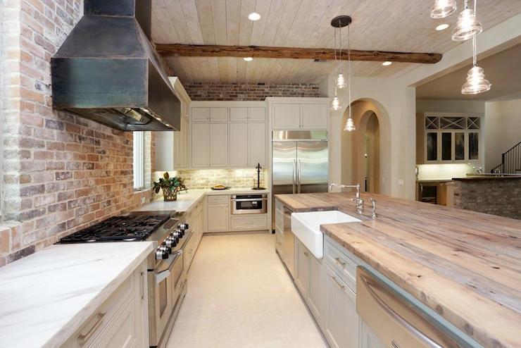 Exposed Brick Kitchen Country Kitchen Har