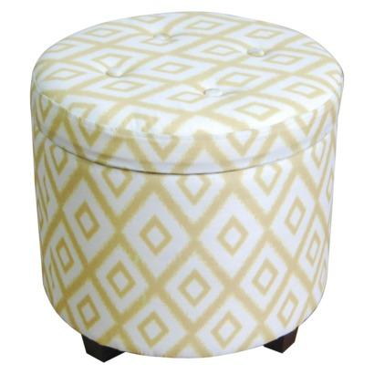 Admirable Threshold Round Tufted Yellow Storage Ottoman Ibusinesslaw Wood Chair Design Ideas Ibusinesslaworg