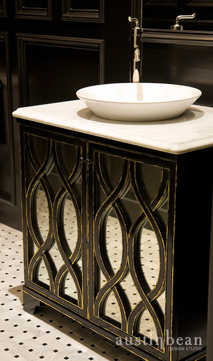 Black Mirrored Vanity Bathroom Austin Bean Design Studio