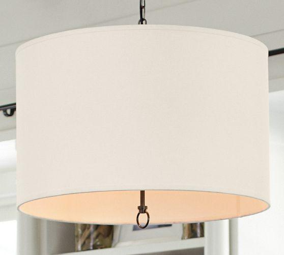White Linen Drum Pendant
