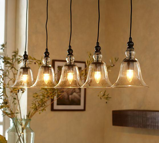 Kitchen Island Lighting Rustic: Rustic Clear Glass 5-Light Pendant