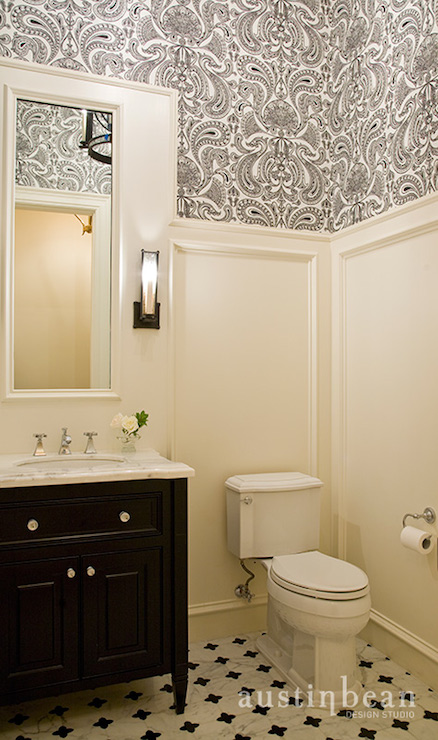 Black and white damask wallpaper traditional bathroom for Dark bathroom wallpaper