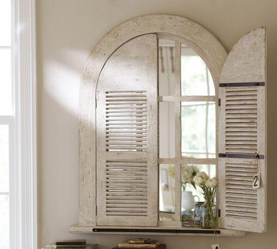 Threshold Arched Frame Windowpane Mirror