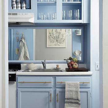 Blue Kitchen, Contemporary, kitchen, Benjamin Moore Blue Ice, One Kings Lane