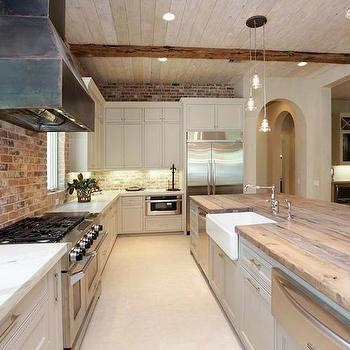 White Kitchen Exposed Brick exposed brick wall - contemporary - kitchen - pinney designs