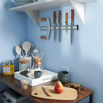 Magnetic Knife Rack, Contemporary, kitchen, Benjamin Moore Blue Ice, One Kings Lane
