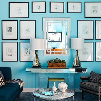 Peacock Blue Sofa, Contemporary, den/library/office, One Kings Lane