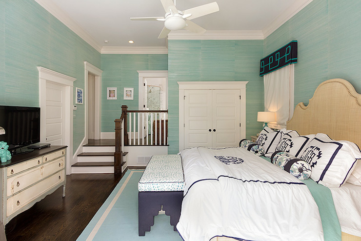 White And Navy Bedding Transitional Bedroom