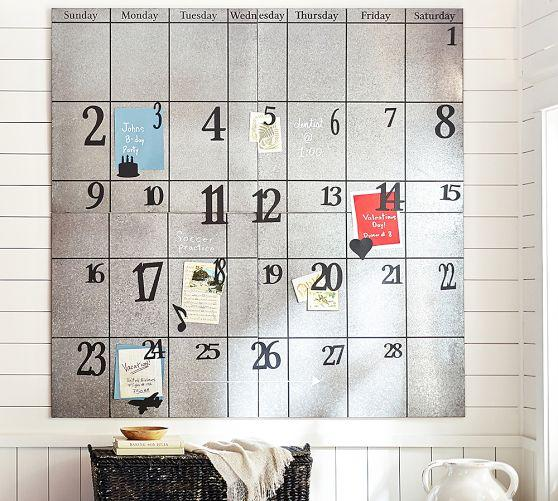 Oversized Galvanized Silver Metal Calendar