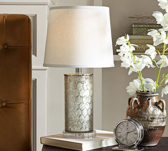 Etched Silver Mercury Glass Table Lamp