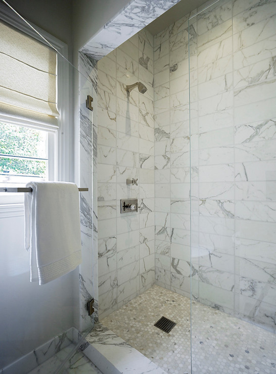 White Marble Shower Surround Transitional Bathroom