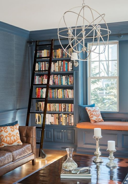 Blue Grasscloth Transitional Den Library Office Cory