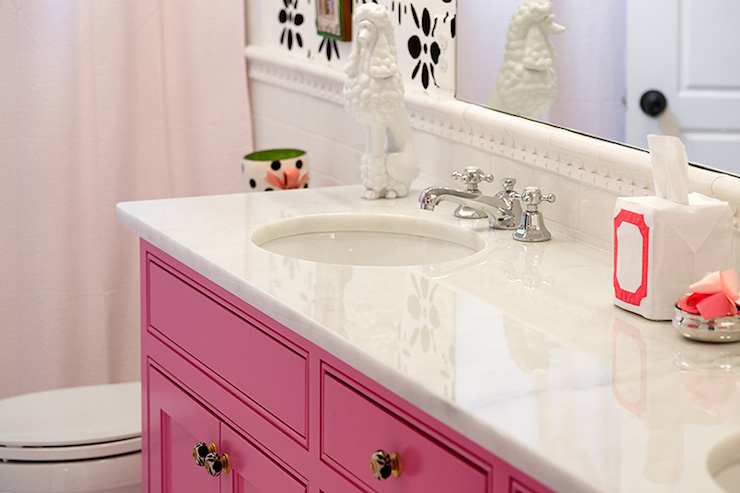 Pink vanity contemporary bathroom colordrunk design for Pink black bathroom ideas