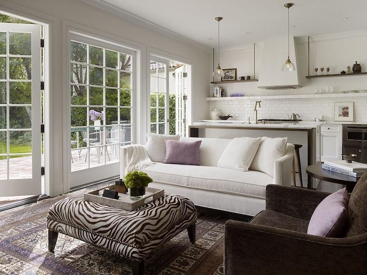 Zebra Ottoman Transitional Living Room Kathleen Bost