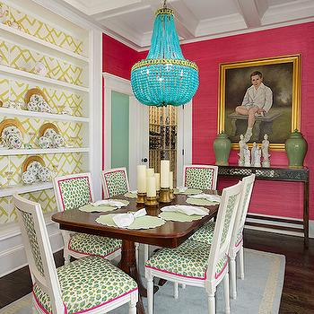 Turquoise Beaded Chandelier, Eclectic, dining room, Colordrunk Design