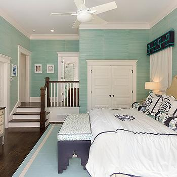 White and Navy Bedding, Transitional, bedroom, Colordrunk Design