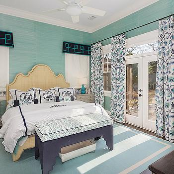 Teal Grasscloth, Transitional, bedroom, Colordrunk Design