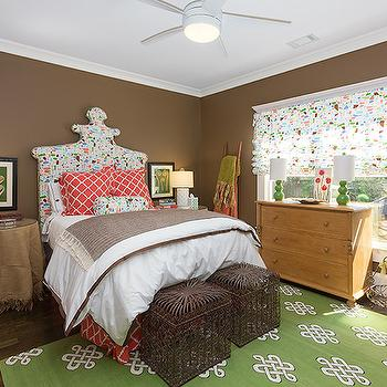 Brown and Green Bedroom, Eclectic, bedroom, Colordrunk Design