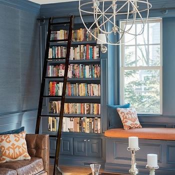 Blue Grasscloth, Transitional, den/library/office, Cory Connor Design